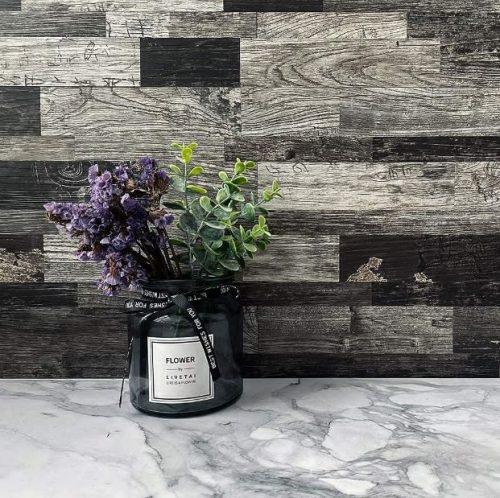 DIH's peel-and-stick wood grain tile wallpaper