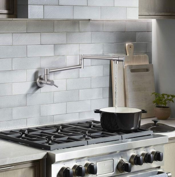 Dalmo's stainless steel wall-mounted pot filler faucet in brushed nickel