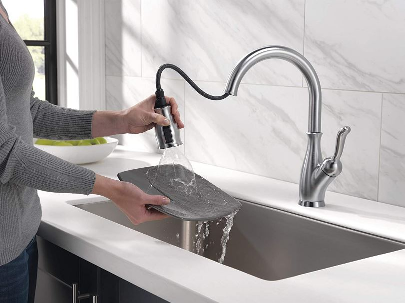 Delta's Leland pull-down, single-handle stainless kitchen faucet