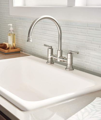 Delta's Westchester Bridge Two Handled Faucet, Stainless