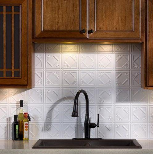 Fasade's Traditional Vinyl Backsplash Panel in Gloss White