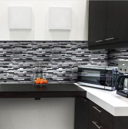Jeffrey Court's Binary Code gray interlocking metal tiles with glass finish