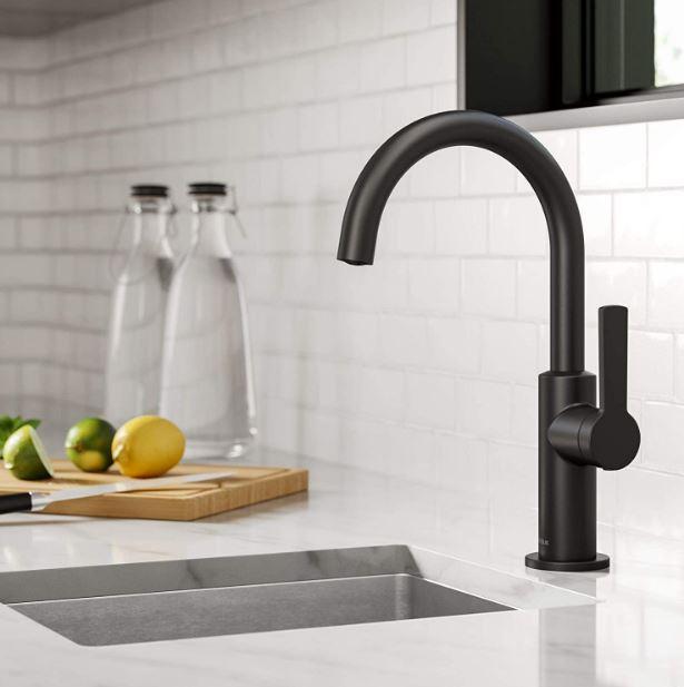 Kraus' Oletto single-handle, matte black bar faucet