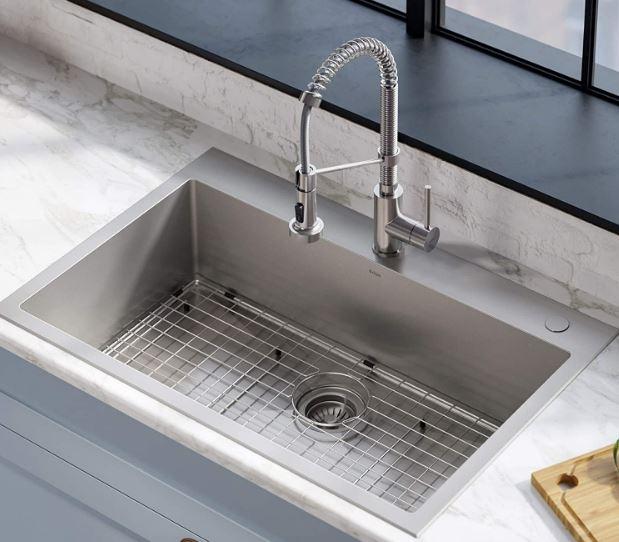 Kraus' Stark dual-mount, single-bowl stainless steel drop-in sink