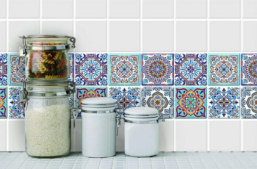 Longking's colorful Talavera Mexican stick-on-wall tile sheets