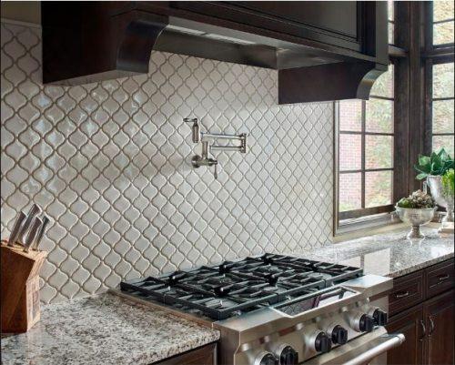 MSI's Bianco Arabesque glossy, mesh-mounted ceramic mosaic tile