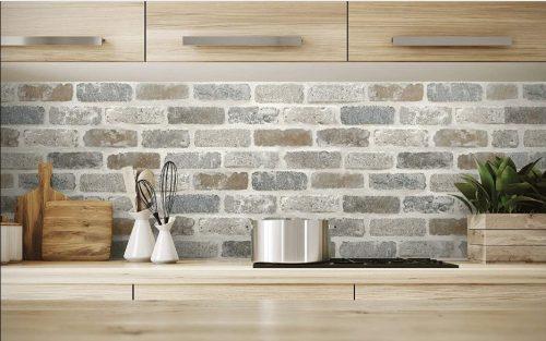 NextWall's peel-and-stick faux brick wallpaper