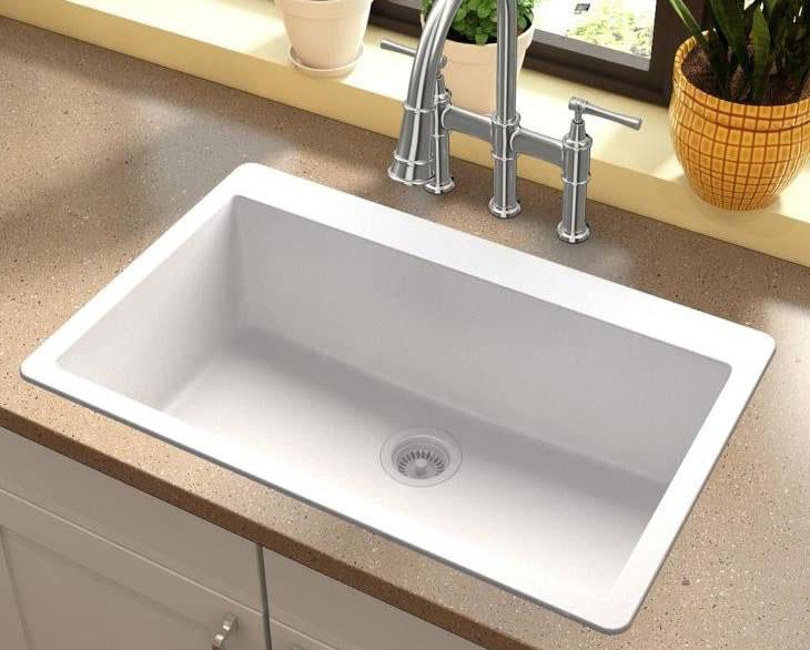 Elkay Quartz classic white single-bowl drop-in sink