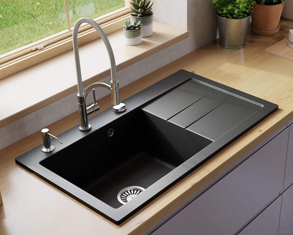 Lavello single-bowl granite composite drop-in sink with drainboard