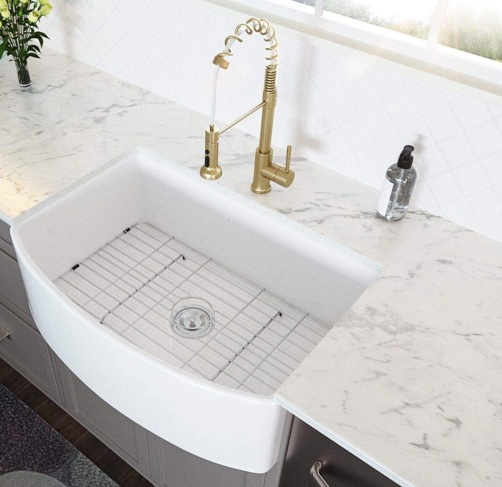 Lordear single-bowl apron-front fireclay sink