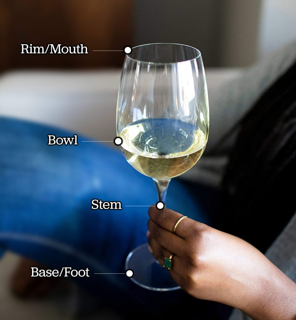Parts of a wine glass, featuring Libbey Signature's Kentfield Estate All-Purpose wine glasses