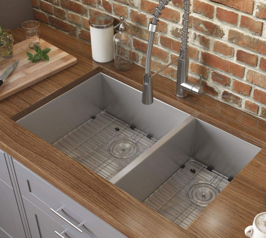 Ruvati double-bowl, zero-radius stainless steel undermount sink