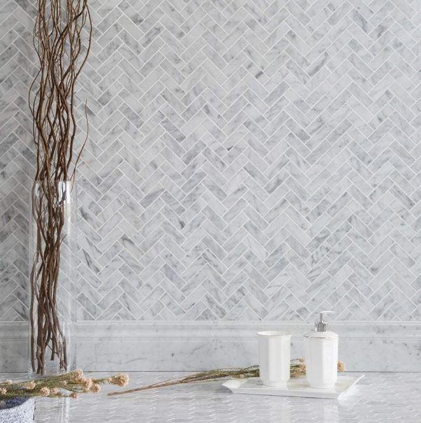 Diflart's Polished Carrara Marble Mosaic Herringbone Tiles