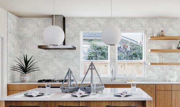 Jeffrey Court's Coastal Haze White Interlocking Polished Marble Wall and Floor Mosaic Tile