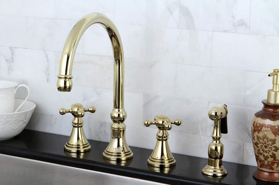 Kingston Brass's Governor Deck Mount Kitchen Faucet, Polished Brass