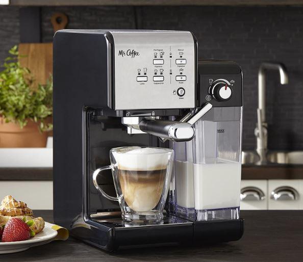 Mr. Coffee's one-touch espresso maker and cappuccino machine