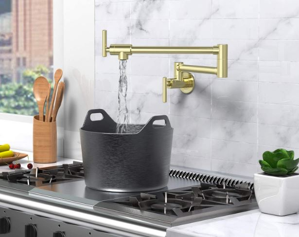 Nireu's folding, brass pot filler faucet