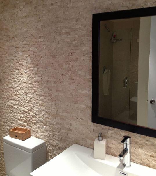 Vogue Tiles' peel-and-stick travertine stone tile
