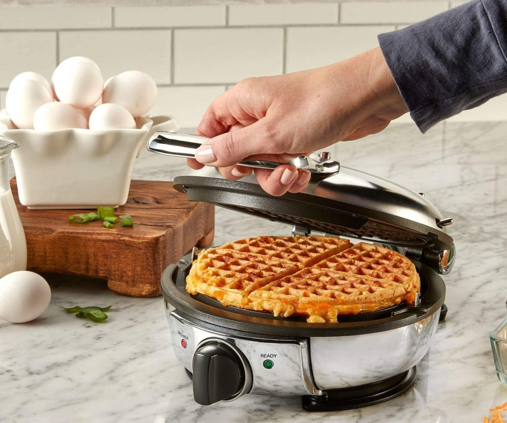All-Clad's round stainless steel classic waffle maker