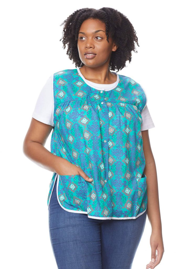 AmeriMark's patterned women's snap-front cobbler apron vest with pcolets
