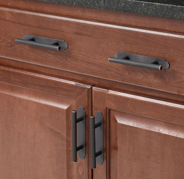 Amerock's center-to-center oil-rubbed bronze cabinet pull backplate
