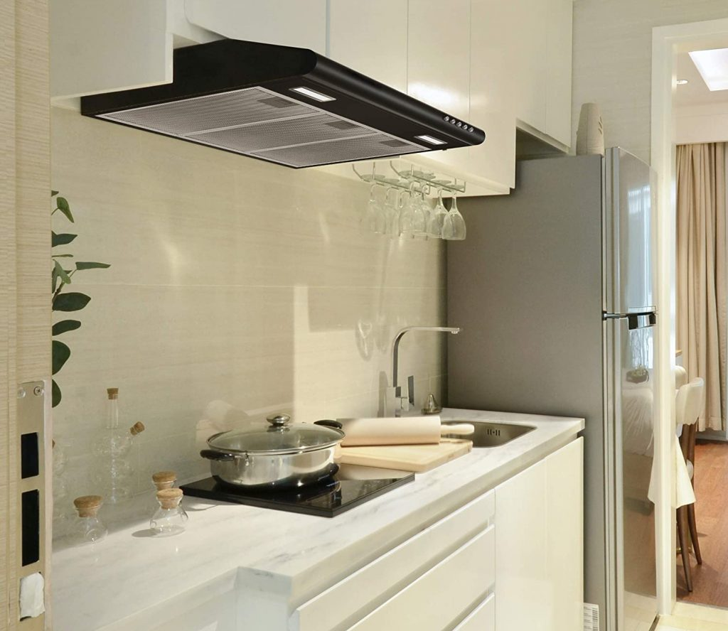 Ciarra's black, 30-inch under-cabinet range hood with convertible venting