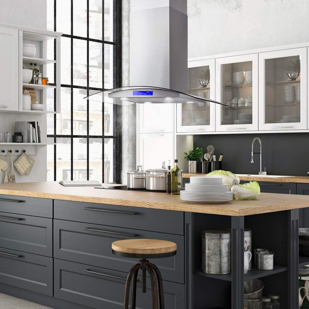 Cosmo's 36-inch ducted island range hood with permanent filters