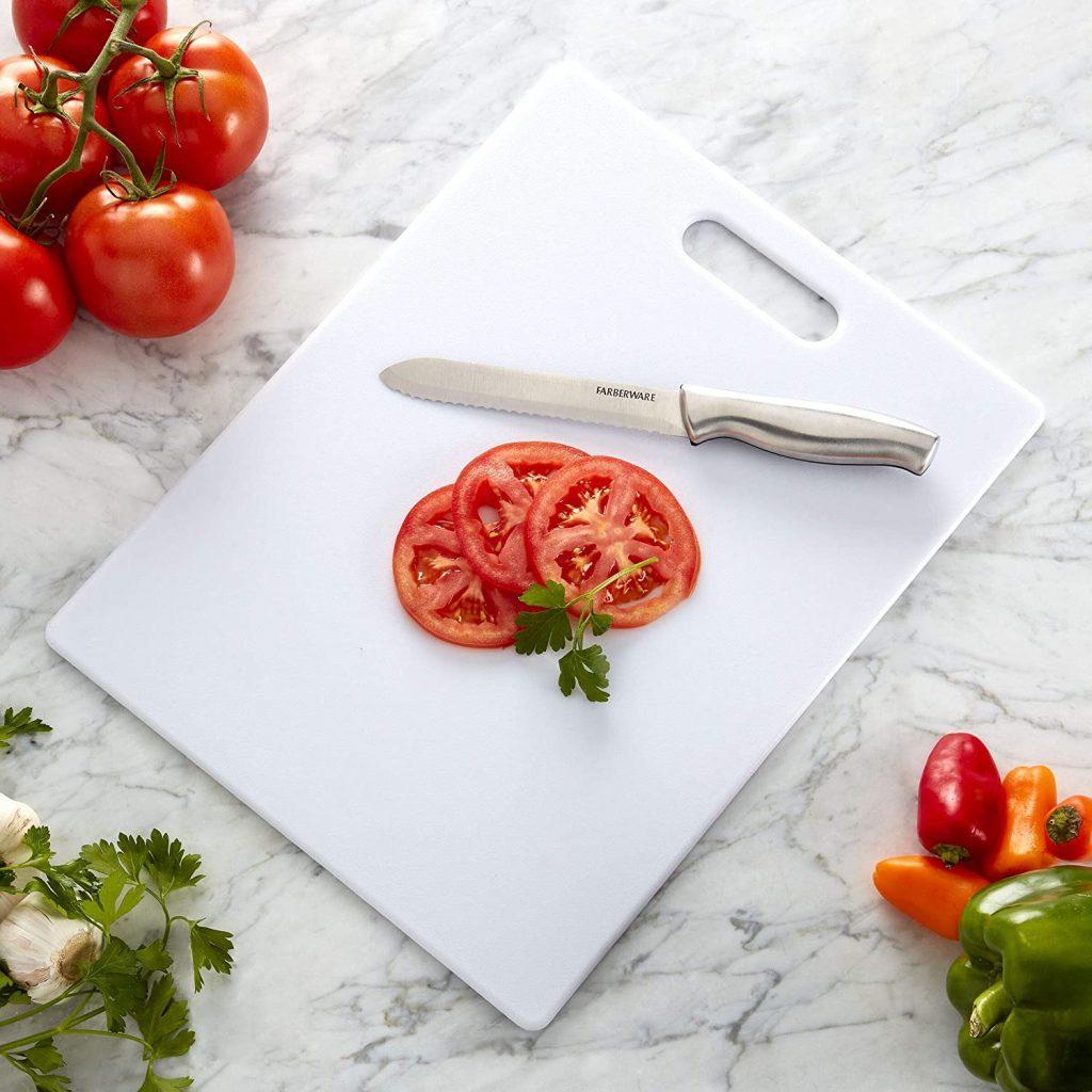Farberware's Plastic Cutting Board 11-inch by 14-inch, White