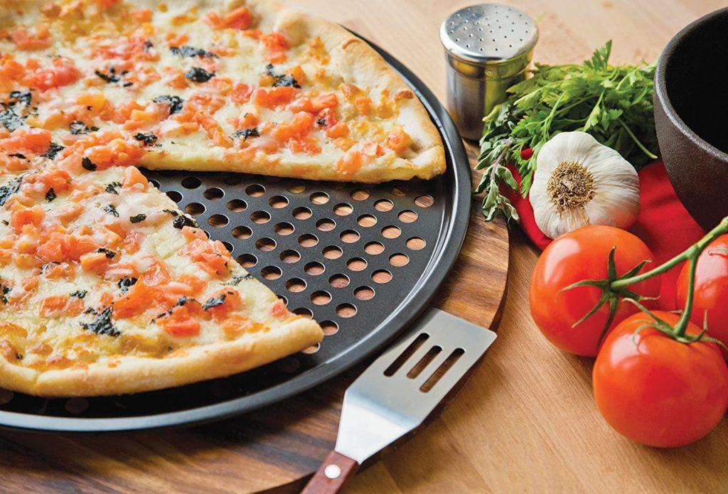 Fox Run's carbon steel pizza crisper pan