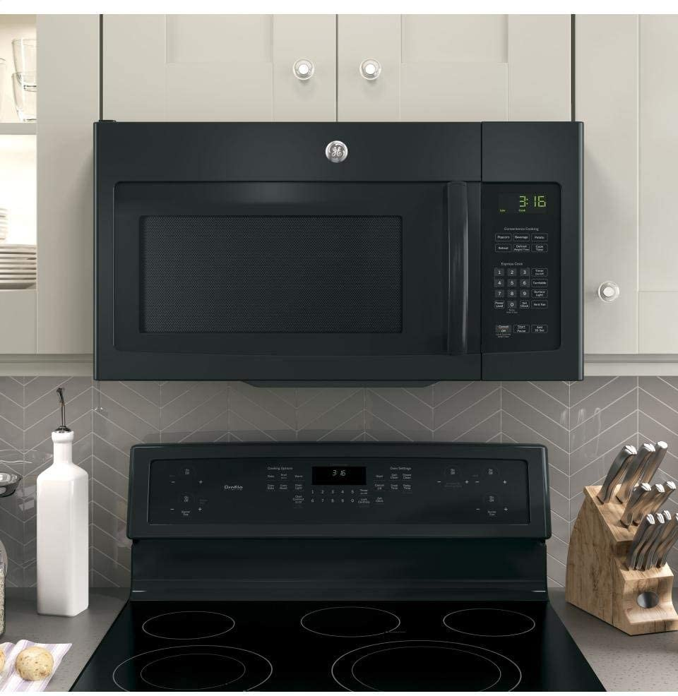 GE's 1.6 cubic foot black over-the-range microwave