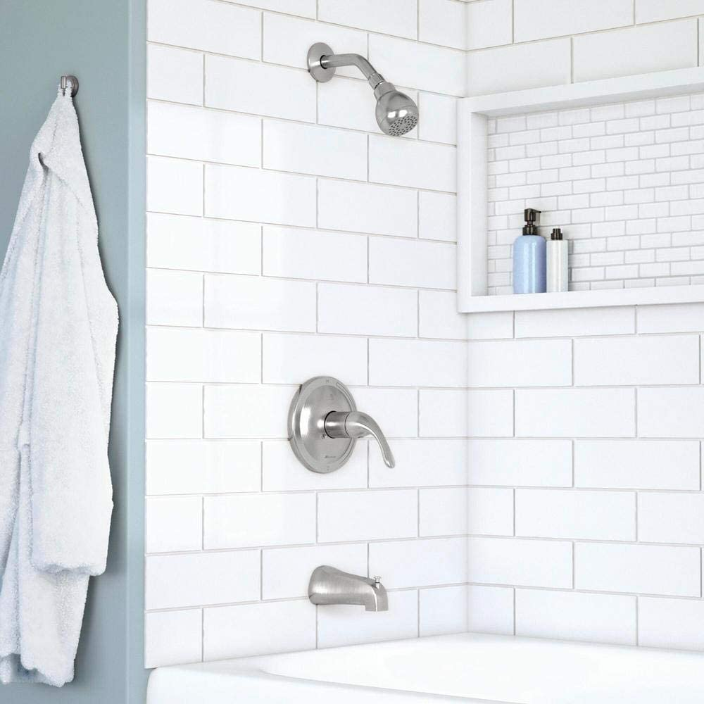 Glacier Bay's Builders 1-Handle 1-Spray Tub and Shower Faucet in Brushed Nickel
