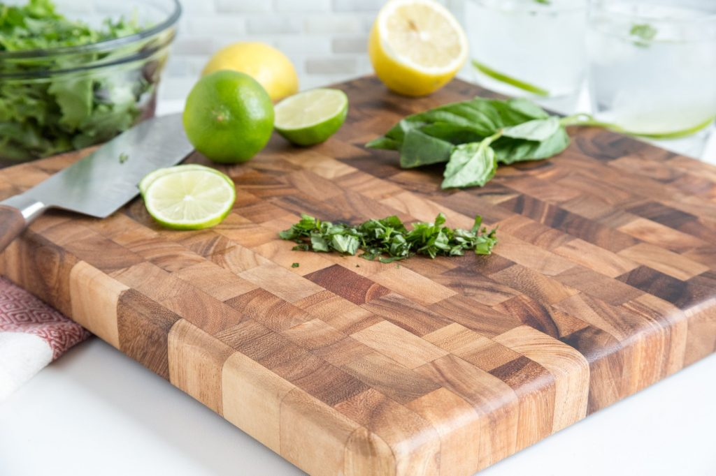 Ironwood Gourmet's Square Charleston End Grain Chef's Board in Acacia Wood