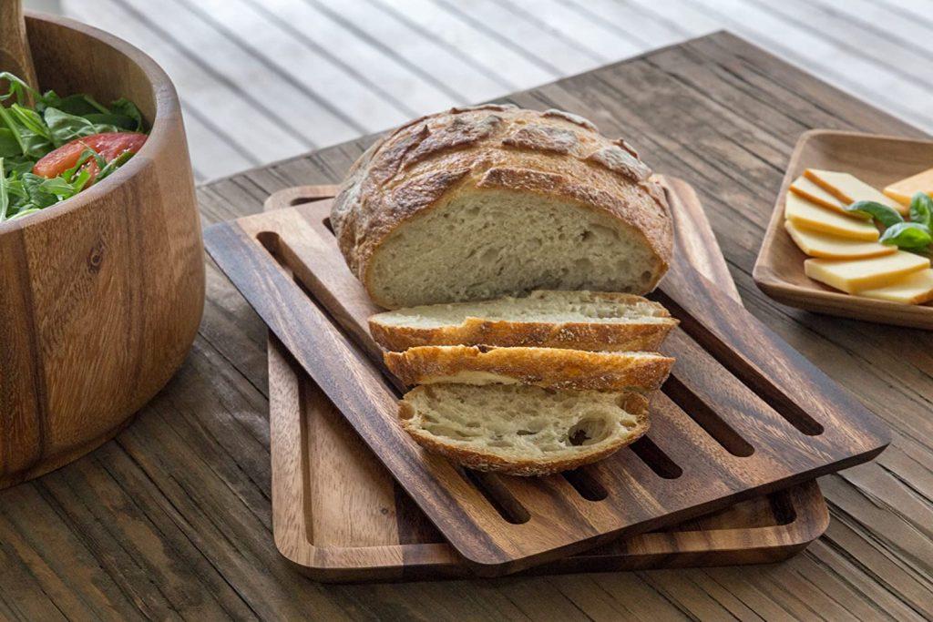 Ironwood Gourtmet's nesting bread board with crumb catcher