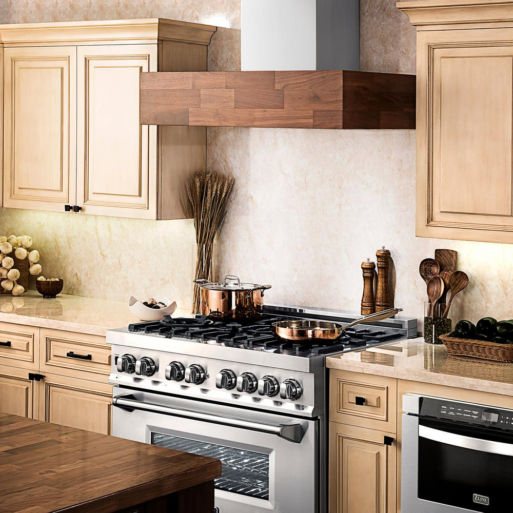 ZLINE's 48-inch wall-mounted range hood with wooden butcher block accent