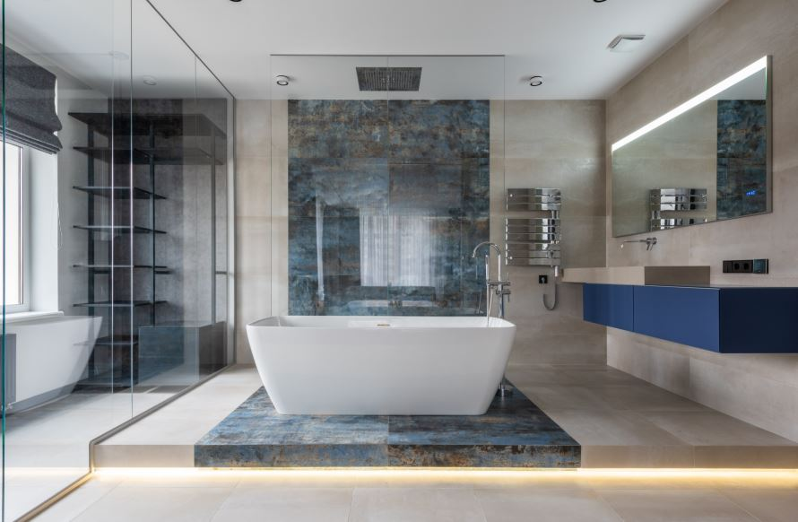 industrial bathroom featuring tile and natural stone