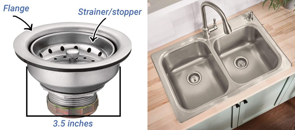 stainless steel kitchen sink basket strainer with drain assembly